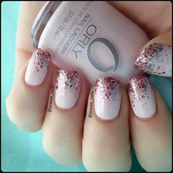 pink glitter ombre nails makeupnails pinterest