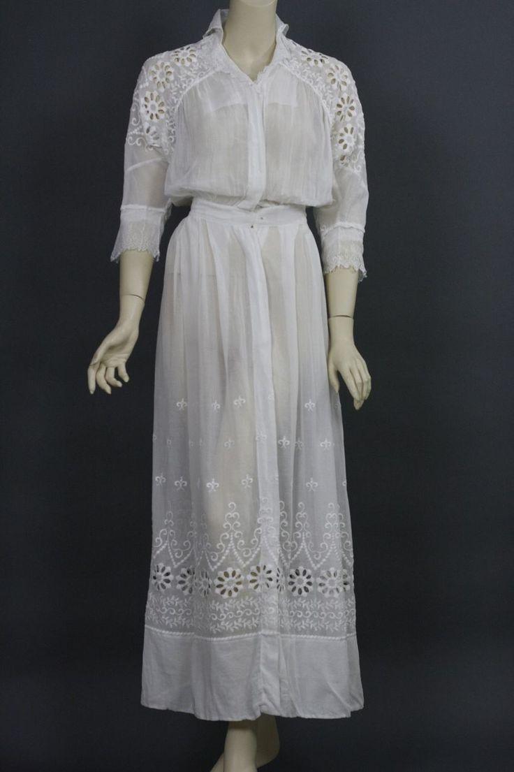 Antique victorian edwardian tea dress gown white lace for Vintage victorian wedding dresses