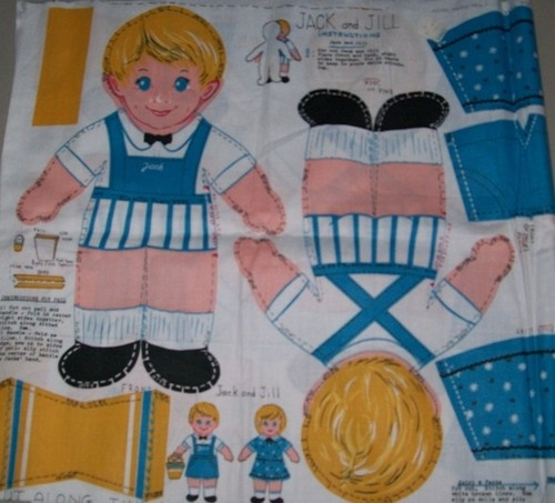 Jack And Jill Story Book Dolls Kit Colored Printed Fabric