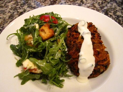 Spicy black bean cakes w/ lime sour cream - cross country munchies