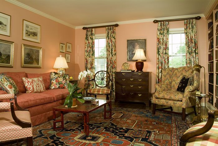 Living Room With Peach Wall Color Interiors Pinterest