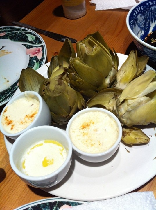 ... with a shallot yogurt dipping sauce and classic melted butter