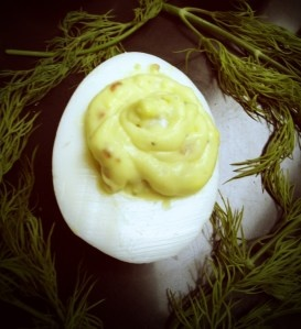 Bacon Blue Cheese Deviled Egg. Recipe from Rachel Ingersol. http ...