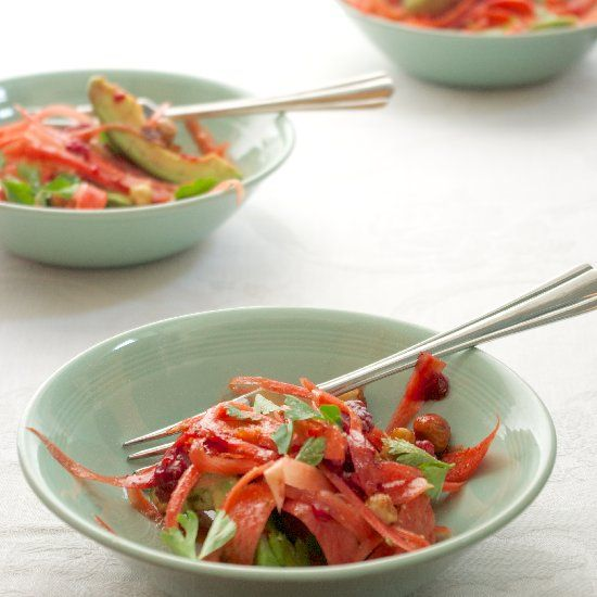 Carrot Salad with Avocado, Hazelnuts, Raspberry & a Quince-Apple ...