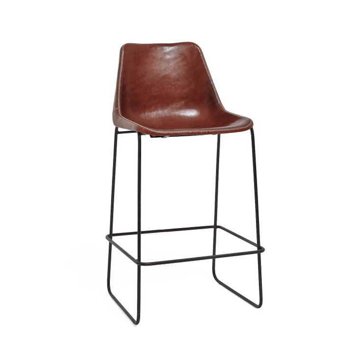 Giron Brown Leather Iron Barstool Client Oceanside Restaurant