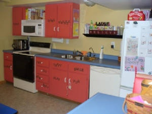Pretty and colorful daycare kitchen area day care ideas for Daycare kitchen ideas