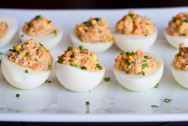 deviled eggs with lemon zest chives and capers recipe key deviled eggs ...