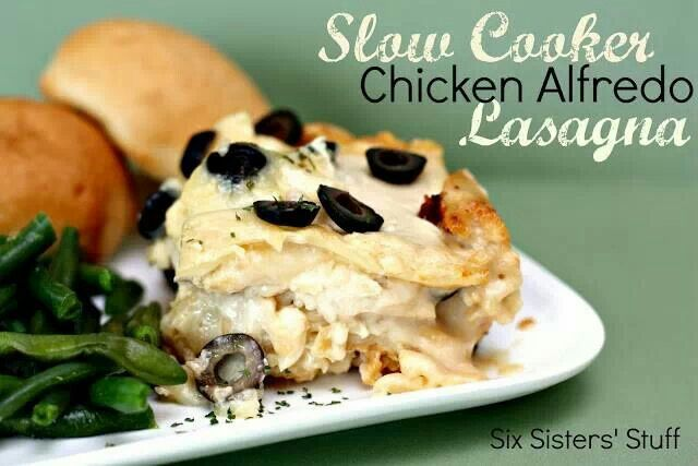 Slow Cooker Chicken Alfredo Laaagna | Six Sister Stuff | Pinterest