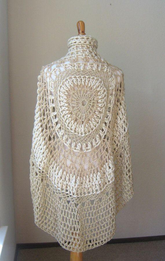 Knitting Pattern Turtleneck Capelet : BEIGE BOHEMIAN PONCHO Crochet Knit Cream Cape Shawl Turtleneck Boho Chic Hipp...