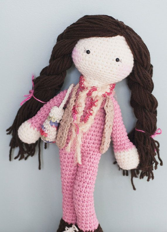 Crochet Doll Hair How To : Long brown hair crochet doll. Comes with vest, purse, scarf & rosy ...