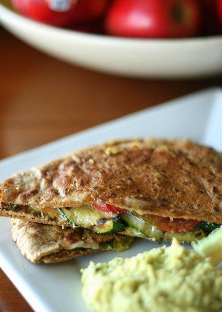 Grilled Zucchini and Ham Pita Panini with Basil Hummus