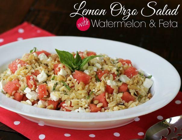 lemon orzo salad with watermelon and feta