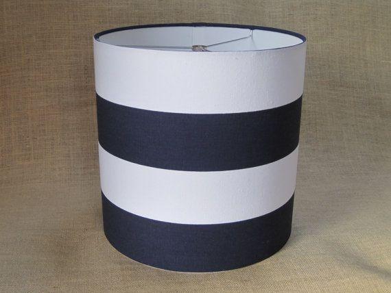 lamp shade drum lampshade pendant navy white wide stripe. Black Bedroom Furniture Sets. Home Design Ideas