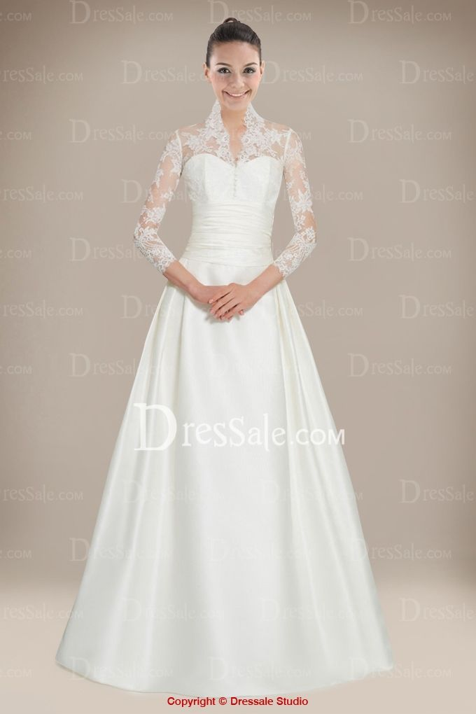 beauteous a line wedding dress with queen anne lace jacket