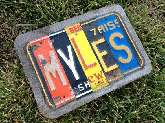5 letter custom license plate name sign reclaimed wood for Custom license plate letters