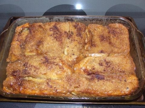 "BAKED FRENCH TOAST 1 cup maple syrup 6 slices French bread 2"" thick 3 ..."