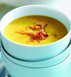 Parmigiano Pumpkin Soup With Frizzled Prosciutto Recipe from The Nest