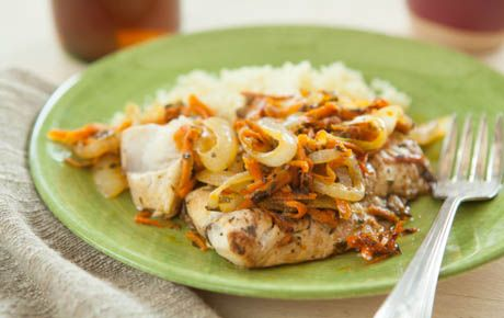 tender fish fillets that are topped with a lemony carrot and onion ...