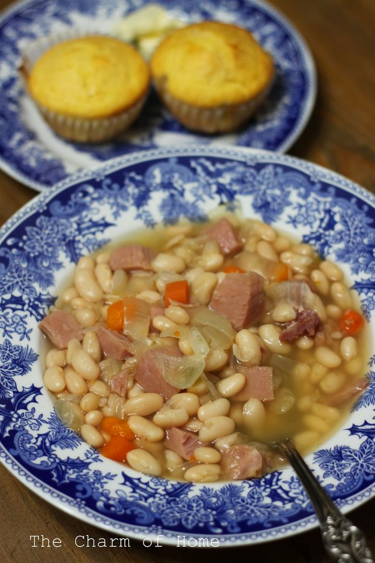 Slow Cooker Ham and Beans | Savory Soups | Pinterest