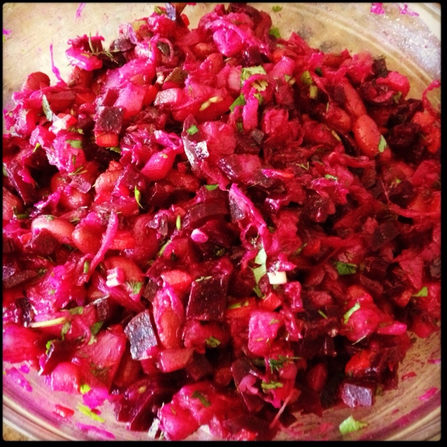 Vinegret - beet & potato salad I add red kidney beans, chopped green ...