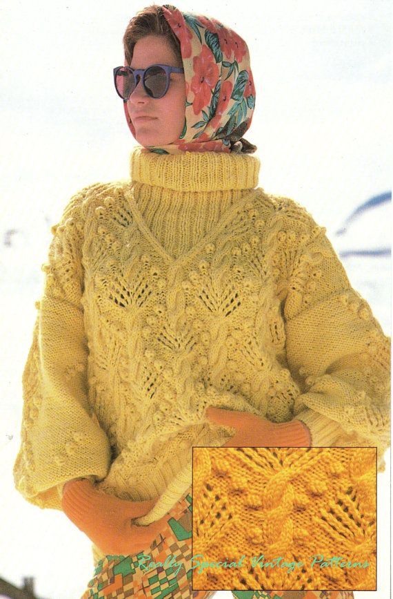 Vintage Aran Cardigan Knitting Pattern : Ladies Aran Sweater Vintage Knitting Pattern D.K Original ...