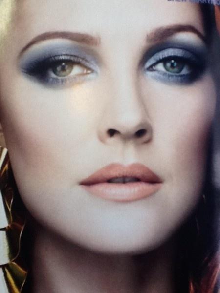 Blue and orange makeup... Drew Barrymore Makeup