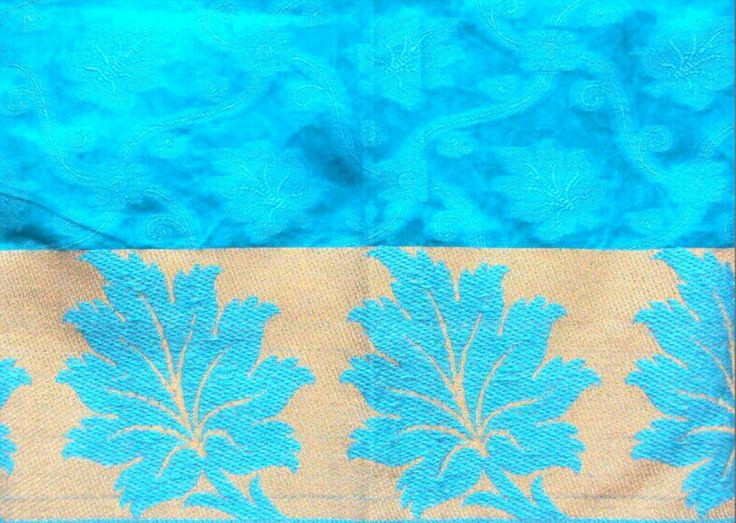 Turquoise Chanderi Cotton Silk With Beige Border Fabric Indian
