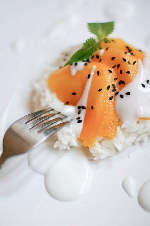Mangoes with coconut sticky rice | Taste Buds | Pinterest