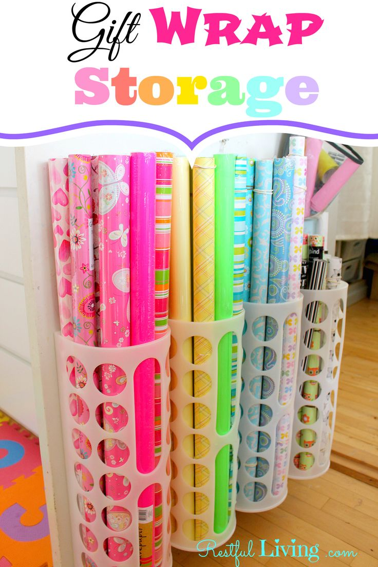 Gift wrap storage organization pinterest for How to wrap presents with wrapping paper