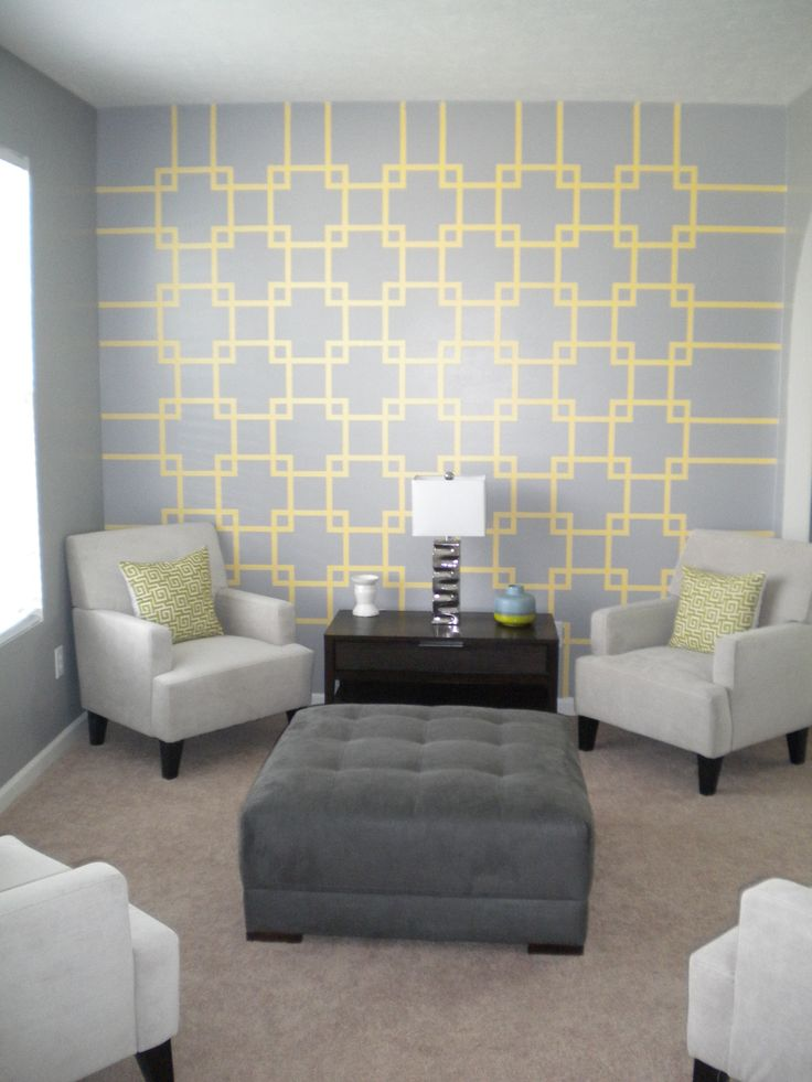 Accent wall using painters tape wall color ideas for Wall designs using tape