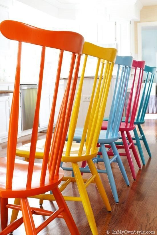 Use spray paint to give your wooden chairs new life!