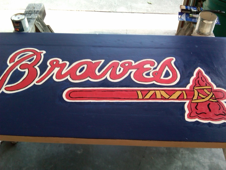 Braves Coffee Table Hand Painted Logo Baseball Bat Legs And Braves Baseball Cards Border