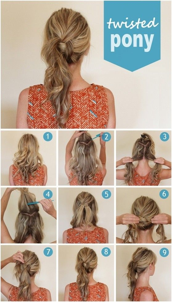 Cutest Twisted Ponytail Hairstyles Tutorial / The twisted ponytail looks casual and luscious  -  can be created on medium or long hair. You first smooth your hair. Then section out the top hair and divide the rest hair into two even parts. Comb the top section down and fix with pins. Cross the lower two sections loosely. Use bobby pins to secure it.