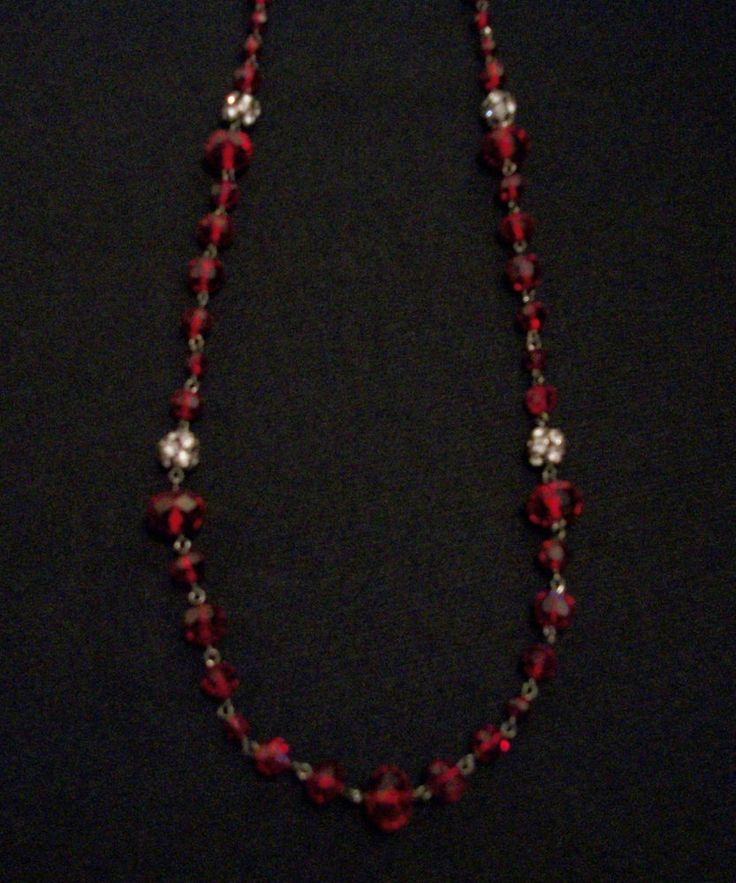 "Red and Black Faceted Beaded Fashion Necklace 38"" Excellent Pre-Owned Condition! $24.95 obo (Free S&H)"