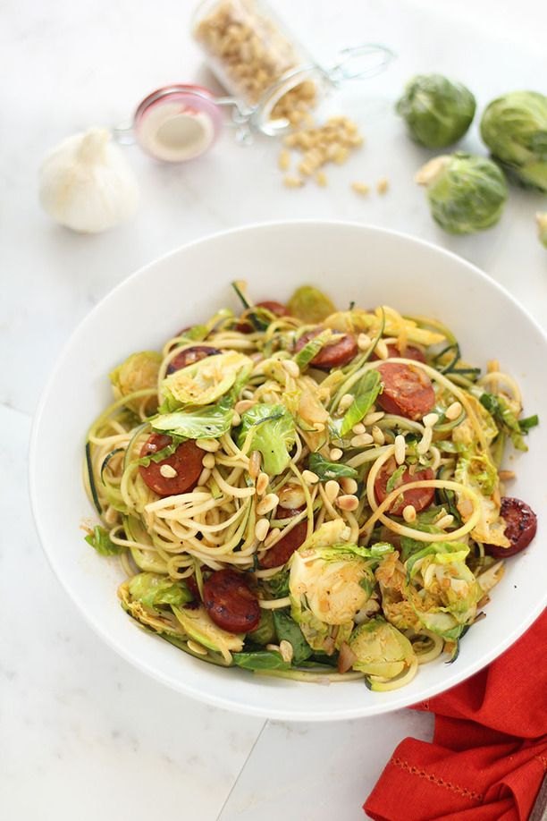 ... Brussel Sprout and Chorizo Zucchini Pasta with Toasted Pine Nuts
