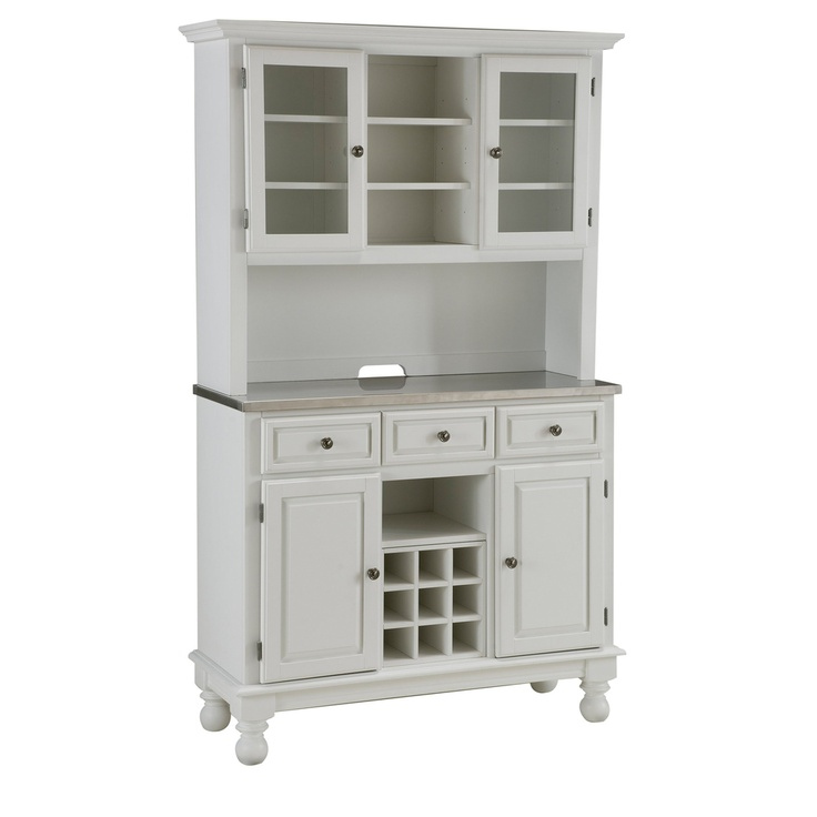 Premium White Hutch Buffet With Stainless Top Dining Table Pinterest