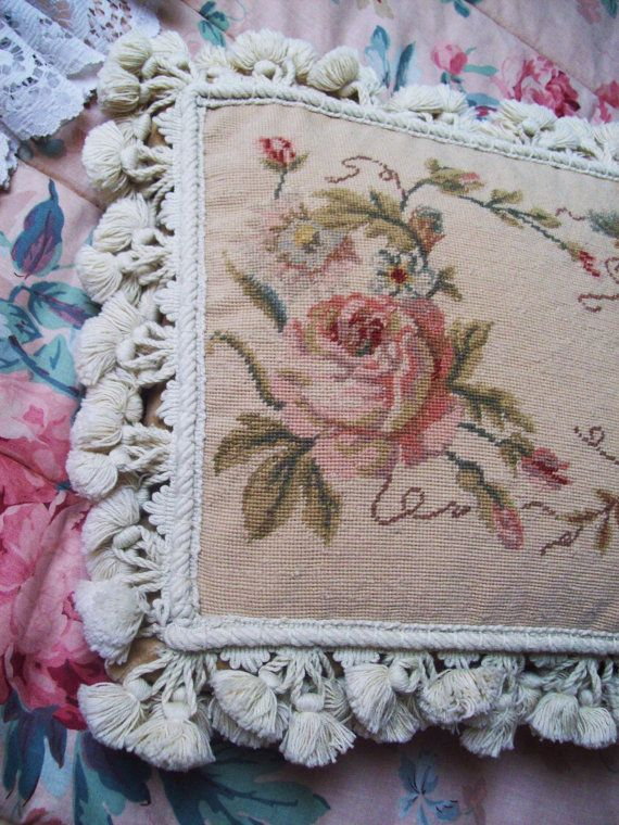 Needlepoint pillow cushion pink rose shabby chic style