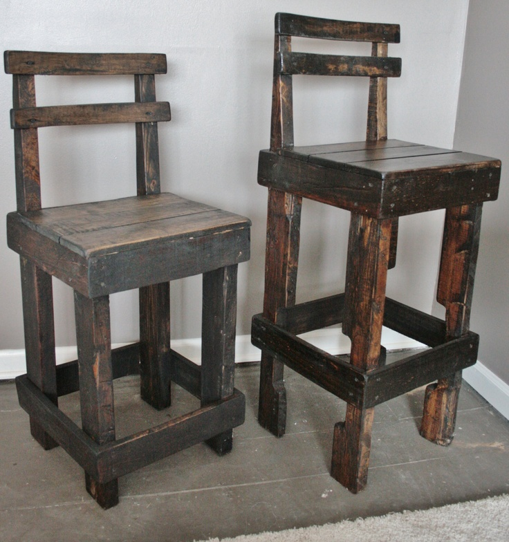 Pallet wood bar stool with back making three of these for the cost of stain chris 39 garage - Diy bar stool ideas ...