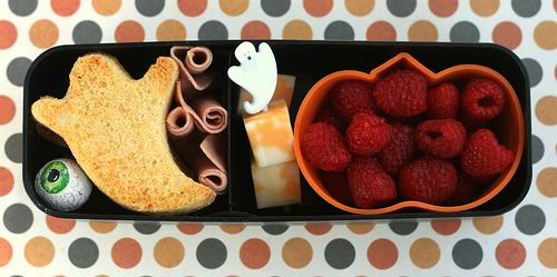 Ghostly Bento! - Homemade ghost-shaped croutons