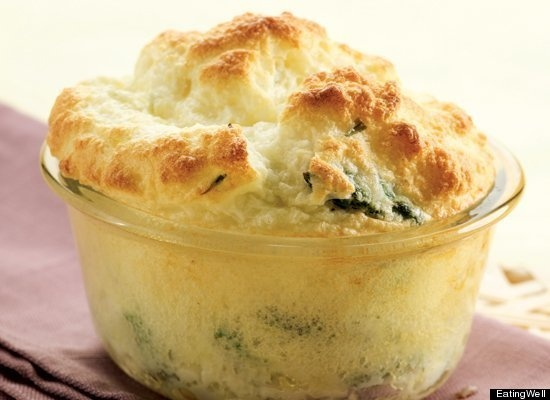 Asparagus and Goat Cheese Souffles! There's truffle oil in there ...