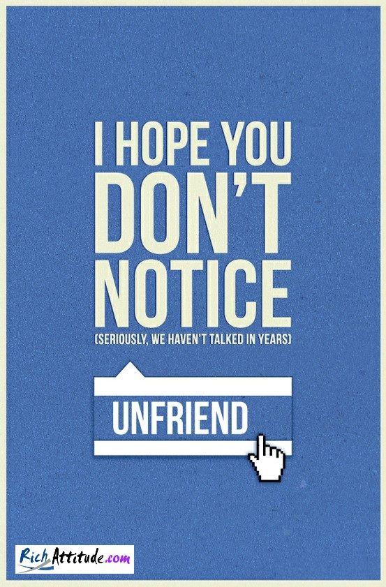 UnFriend Facebook Facebook Pinterest
