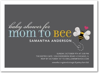 Baby Shower Invitations Loving Bee - Front : Powder Blue