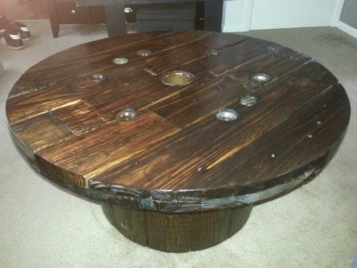 coffee table out of wire spool pallet pinterest