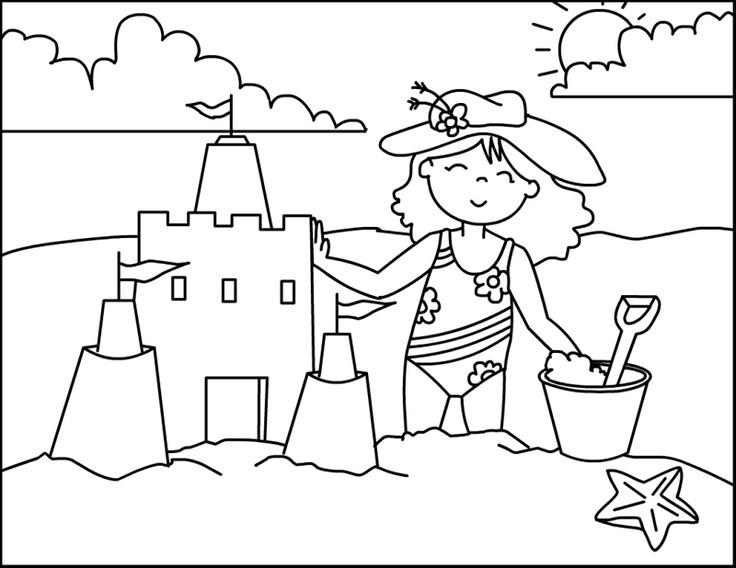 sand castle coloring page beach sandcastle coloring page - Beach Coloring Pages