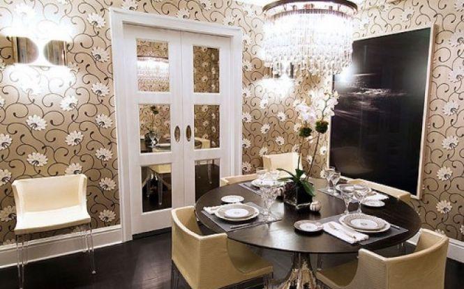 Deco Floral Wallpaper Dining Room ELEGANT OPEN DINING ROOM Pinter