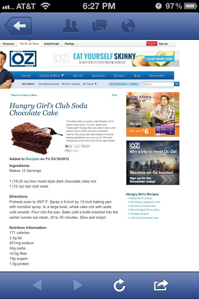 Skinny cake | Healthy Bites & WW Recipes | Pinterest