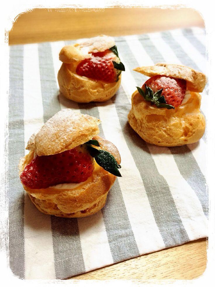 strawberry cream puff | my kitchen | Pinterest