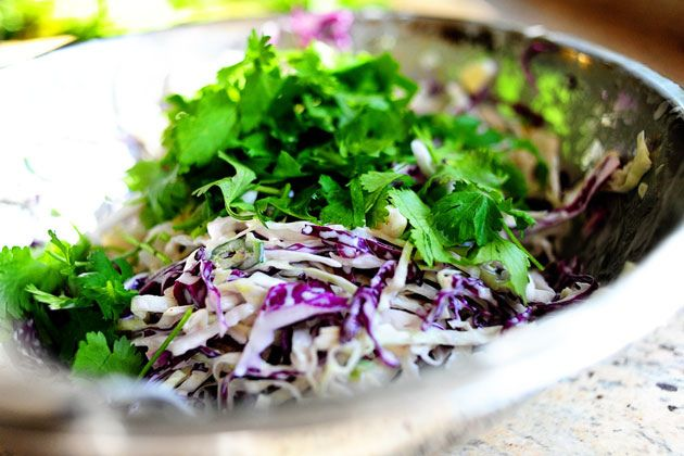 Pioneer Woman's cilantro slaw: I would replace the jalapeno with 1/2 ...