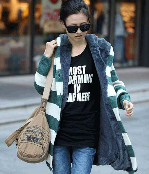 Fleece lined sweater jacket