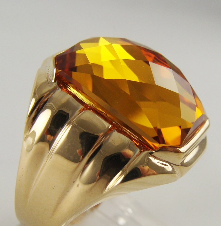 Mens Antique Vintage Esate Ring Orange Sapphire 10k Yellow Gold 105